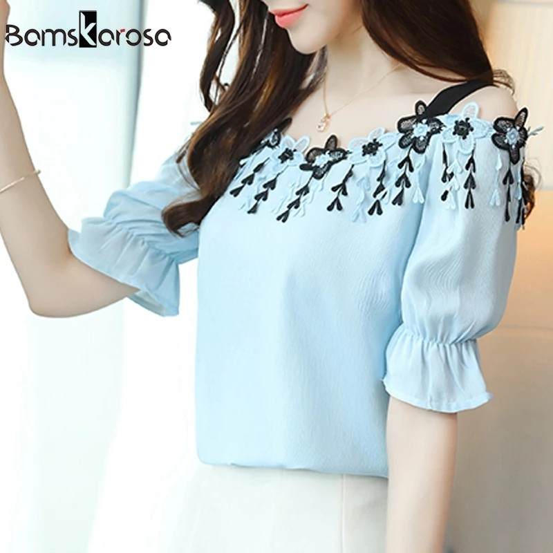 e9cb249642a Summer 2018 Women Blouses Shirts Ladies Sexy Off Shoulder Tops Short Sleeve  Casual Elegant Blue White Lace Blusas Femininas, Women's Fashion, Clothes,  ...