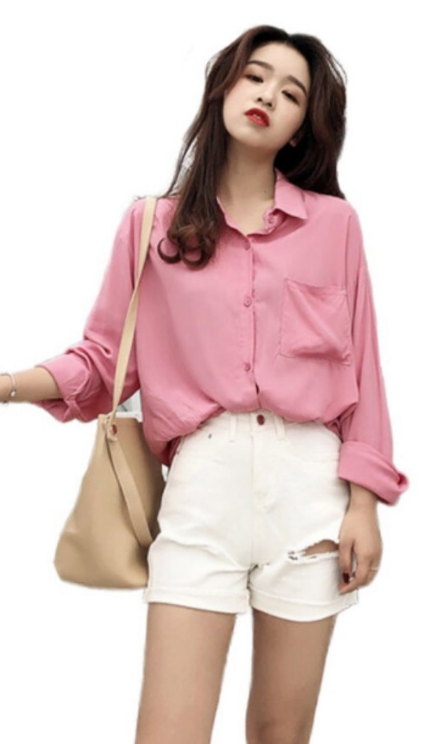 516cca51 Ulzzang Dusty Pink Blouse Button Up Shirt, Women's Fashion, Clothes ...