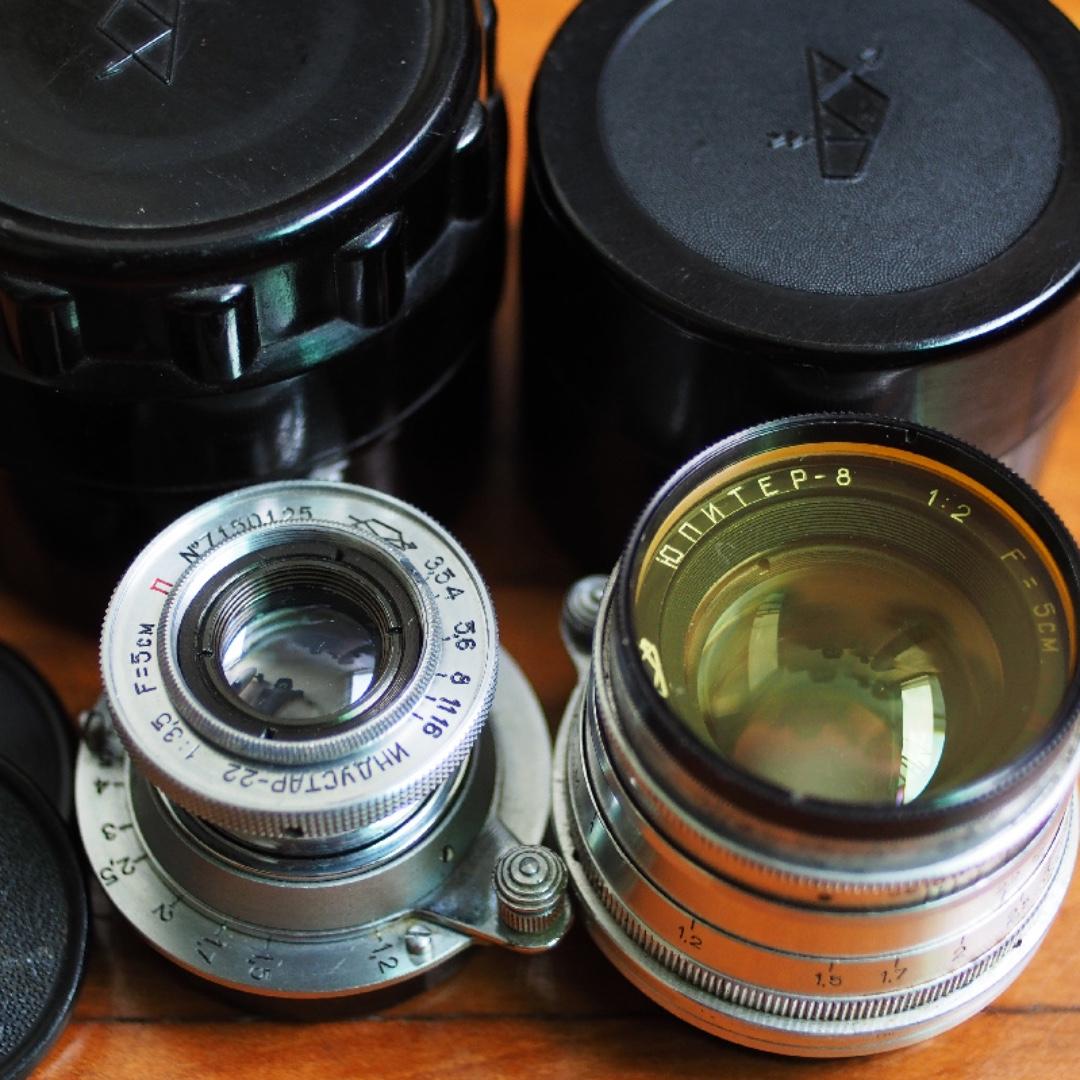 Vintage KMZ Jupiter-8 and Industar 22 m39 mount lenses