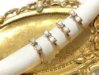 18K鑲白貝戒指💍活口戒圈