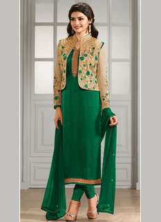 Green COLOR EMBROIDERED GEORGETTE FABRIC FESTIVE WEAR TRADITIONAL JACKET STYLE SALWAR SUIT