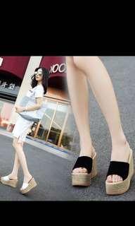 🚚 34-40❤️ 厚底楔型高跟涼拖鞋