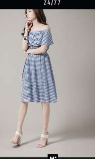 H:connect 藍白格紋平口洋裝