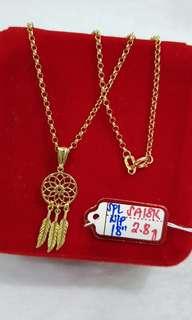 "18k Saudi Gold Necklace 18"""