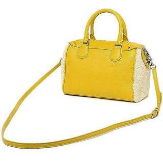 🚚 Coach 經典 轉釦 羊毛 黃色 向日葵黃 暖黃色 波士頓包 小波士頓包 迷你斜背包 手提包