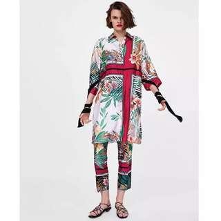 Women's Rainforest Flower Print Waist Lace Long Shirt + Printed High Rise Casual Pants