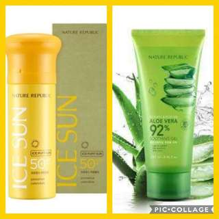 Nature Republic Ice Puff Sun Block and 92% Soothing Aloe Vera Gel Set