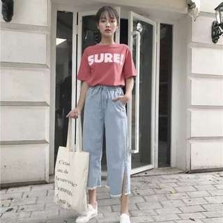 (PO) Casual Ribbon Cut Jeans