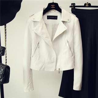 White leather (PU) jacket