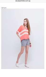 BNWT Plus Size Orangebear Light Grey Elastic Waistband Shorts
