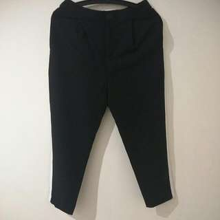 Black Office Pants With White Strip At The Side