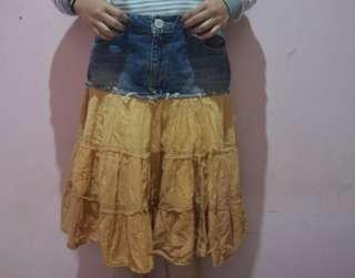 Rok jeans kombinasi ( vintage, retro ) maxi