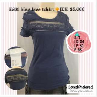 H&M blue lace tshirt