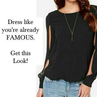 F📌 Asymmetrical Slit-Sleeve Blouse