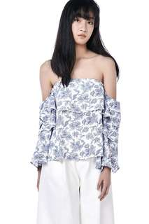 TEM Ruffle Sleeve Top in Florals