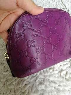 💯% AUTHENTIC GUCCI Guccissima Leather Cosmetic small travel pull zipper Pouch Purple 141810