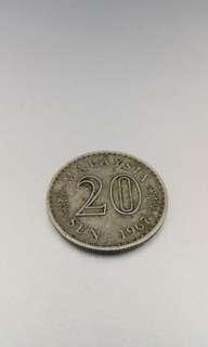 Syilling lama 20 sen Old coin 1967