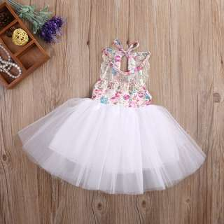 Cute Baby Kids Flower Girl Tulle Tutu Cake Dress Party Bridesmaid Dress Sundress