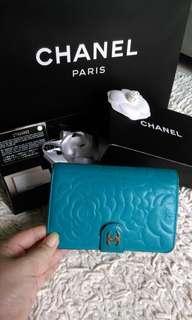 💖💯% AUTHENTIC CHANEL Camellia French wallet Camelia Flower Compact Bi Fold Emerald blue Turquoise Lambskin Zip Zipper zipped Around Medium With Matt Gold Hardware camelia