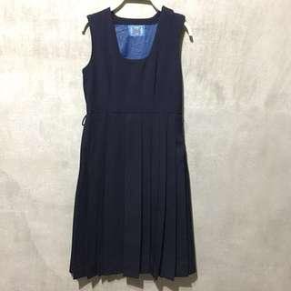 🚚 Vintage 日本古着 日本制服 經典百褶無袖洋裝