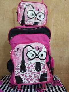 Cute Cat Trolley Bag w/ Lunch Bag