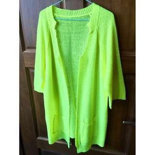 【二手出清】春夏螢光黃針織中長版上衣罩衫外套
