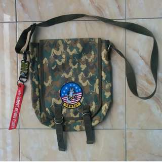 Military Canvas Sling Bag Naked Woman Camo Pattern