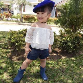Pretty Toddler Kids Baby Girls Outfits Lace Tops+ Denim Pants Shorts Outfits