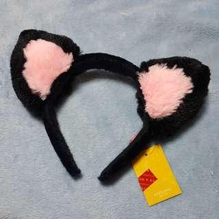 Black Pink Cat Ears Headband