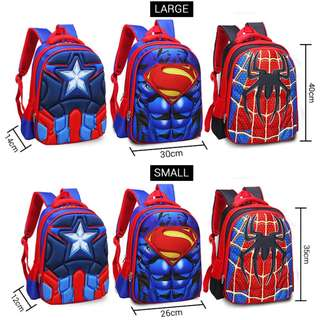 3D Muscles Superhero Suit Backpack for Kids - Captain America, Spiderman or Superman