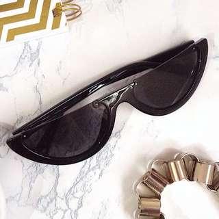 half frame cat eye sunglasses