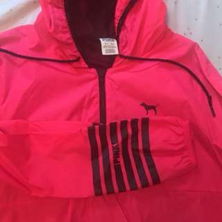 Bright pink and black victoria secret pink half zip windbreaker