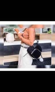 Mini korean backpack w/ furry chain