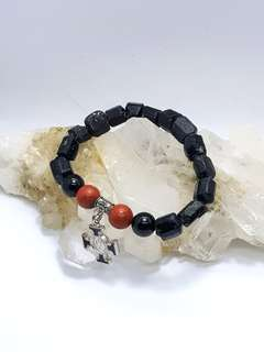 Raw Black Tourmaline with Red Jasper and Cross with St.Benedict