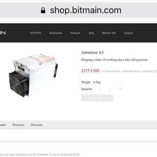 Antminer A3 (=4 s9)815G sia siacoin SC