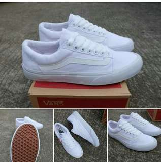 [GO] VANS OLD SKOOL ALL WHITE WAFFLE IFC