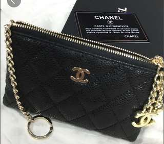 Chanel o case key pouch in caviar leather and ghw