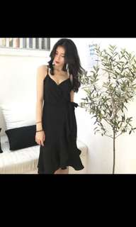black overlap wrap dress