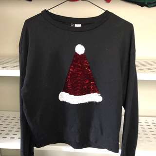 H&M Santa hat/pizza slice reverse glitter sweater