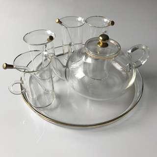Antique glass tea set