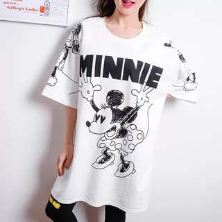 PO Minnie Black & White Print Long Tee