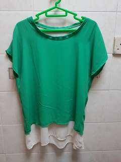 Green with Cream Inner Layer Chiffon Top