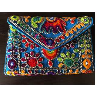 NEW Handmade Mutli-coloured Clutch with Embroidery