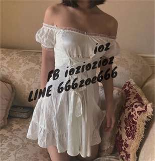 ioz 南法風情 甜美白蕾絲露肩連身短裙 洋裝