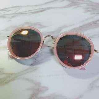 正韓製 粉紅框雷射反光鏡片 墨鏡