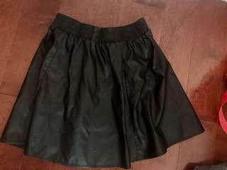 Leather black skirt