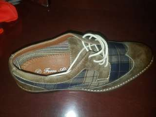 Plaid brown and navy shoes