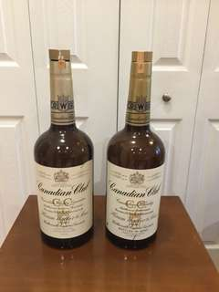 Two 133 1/3 Imperial Ounce Empty Canadian Club Bottles