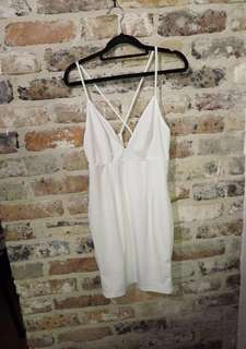 White V Neck Bodycon Cross Back Dress Size M