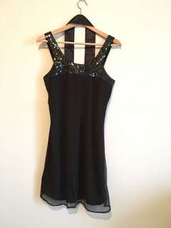 Bedo black dress with sequence detail and black sash. Size S.